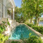 Lush tropical landscaping enhances the sense of privacy